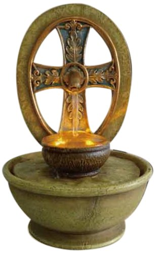 OK LIGHTING FT-1205/1L 9-Inch H Tabletop Cross Led Fountain