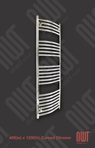400 x 1200 mm Heated Towel Rail Curved Chrome 1686 BTU's Bathroom Warmer Radiator Rack Central Heating
