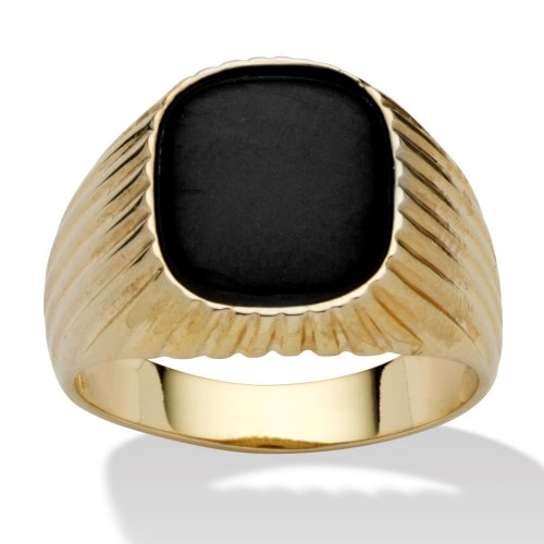Men's Genuine Black Onyx 14k Yellow Gold-Plated Ribbed Ring