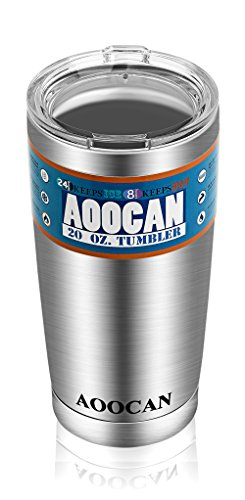 Aoocan Stainless Steel Tumblers 20 oz Vacuum Insulated Double Wall Travel Cup Tumbler cups Rambler Coffee Mug ,Keeps Hot or Cold for Hours (Metal Coffee Cups With Lids compare prices)