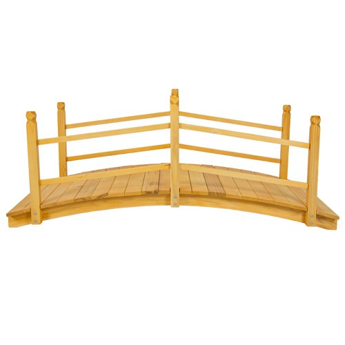 Best choice products wooden bridge 5 39 natural finish for Decorative fish pond bridge