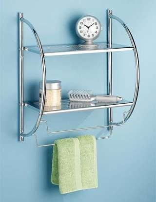 Bathroom shelves Whitmor 6060 3570 BB Chrome 2 Tier Shelf and Towel Rack. Bathroom Shelf With Towel Bar. Home Design Ideas