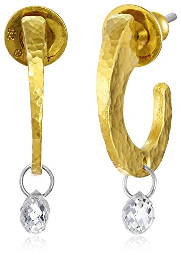 GURHAN-Dew-High-Karat-Gold-with-White-Diamond-Briolette-Hoop-Earrings