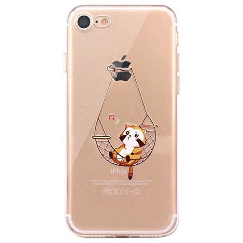 """Yoowei® iPhone 7 Case, Cute Cartoon Pattern Design Ultra Slim Crystal Clear Silicone Gel Soft TPU Cover Jelly Protective Bumper Back for iPhone 7 4.7"""", Animal Series Singing Cat"""