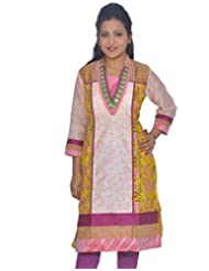 Chhipa Women Gota Patti Work Pure Chanderi Yellow Kurti