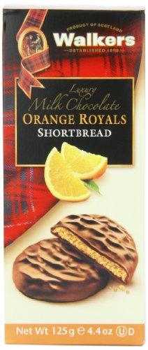 Walkers Shortbread Milk Chocolate, Orange Royals, 4.4-Ounce (Pack of 4)