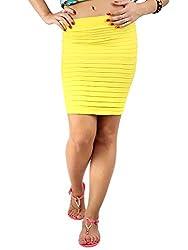 Thick Fold Strap Mini Skirt, NG71029-Yellow