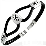 New Black Rubber Bracelet with Stainless Steel Scorpion Design, Length 22cms.
