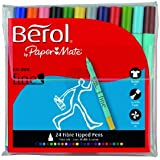 Berol Colour Fine Fibre Tipped Pens - Assorted Colours (Pack of 24)