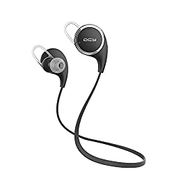 [Official QCY QY8 English Version] Updated Version of QY7 Bluetooth V4.1 Wireless Stereo Headphones APT-X In-ear Sports Earphones for Gym Running Exercise Music Bluetooth Earphone for iPhone, iPad, Samsung and Android Smart Phones (Black)