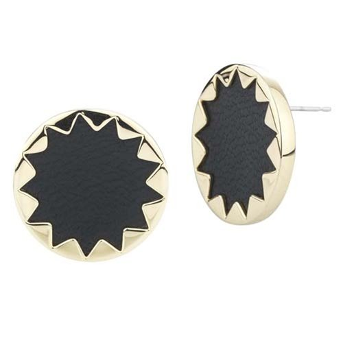 House of Harlow 1960 - Starburst Button Earrings with Black Leather - 14 Karat Yellow Gold Plated