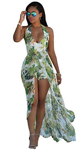 e10176aed14 Women s V Neck Halter Floral Maxi Skirt Overlay Romper Jumpsuit Playsuit L