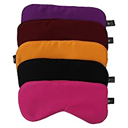 Friends of Meditation ® 100 % Silk, Super Smooth Sleep Mask And Blind Fold (Pack Of 5)