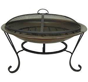 Fire Pit - 30 Inch Brass Outdoor Fire Pit With Screen And Stand