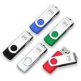 5 X mosDART 32GB USB 2.0 Flash Drive Swivel Bulk Thumb Drives Jump Drive Zip Drive Memory Sticks with Led Indicator,Black/Blue/Red/White/Green(32GB,5pack MIX Color)