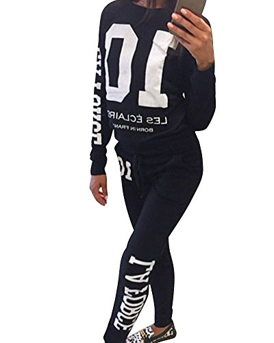 Donna Tuta Da Ginnastica Jogging Tuta Sportiva Fitness Sport Felpa e Pantaloni Nero S