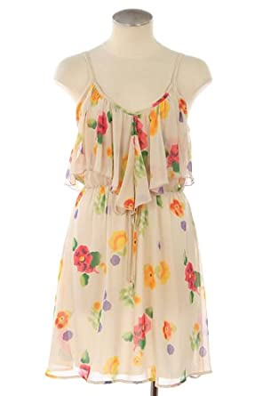 FLORAL PRINT RUFFLE CHIFFON CAMI DRESS