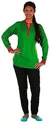 Shree Business Associates Green Rayon Plain Ethnic Wear Top