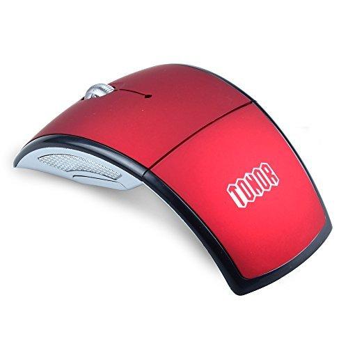 Tonor faltbar kabellos schnurlos wireless optisch Mini schlank klappbar optisch Maus 1200DPI für Laptop Mac Computer Rot