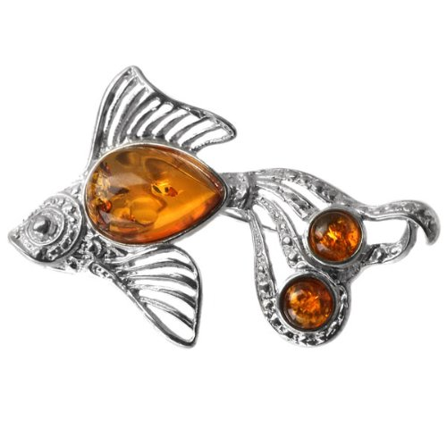 Baltic Honey Amber Sterling Silver Museum Collection Classic Fish Pin 19th Century