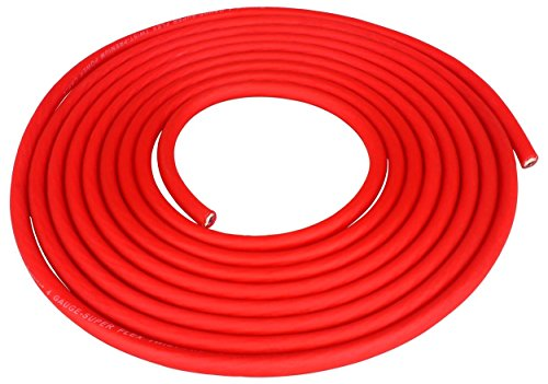 Rockville R4G150R 4 Awg Gauge 25 Feet (Cut From A 150 Foot Spool) Red Amplifier Power/Ground Wire With Braided Super-Flex Design