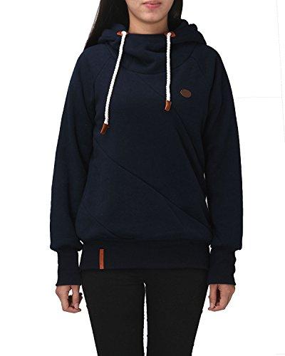 ZANZEA Donne Fleece Felpa Sportiva Casual Maniga Lunga Cotone Pullover con Cappuccio Vblu scuro IT 46/ASIAN XL
