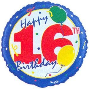"""Happy 16th B-day"" Balloon 18"" Mylar (Pack of 3) - 1"