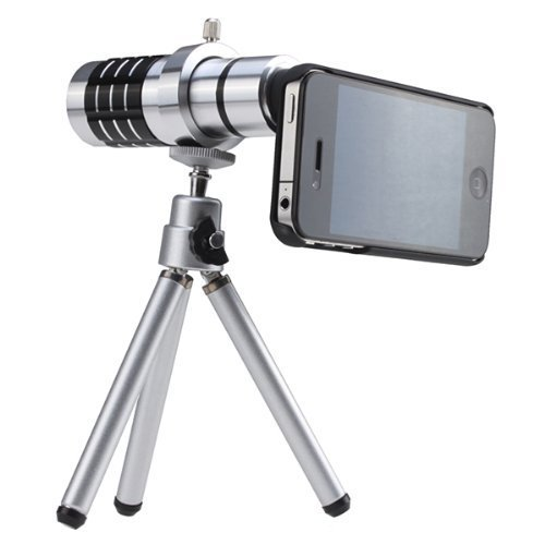 Iphone 5 Silver Camera Lens Kit Including 12X Telephoto Lens / Mini Tripod / Universal Phone Holder / Hard Case For Iphone / Velvet Phone Bag / Cleaning Cloth / Fisheye / Wide Angle / Macro