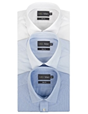 3 Pack 2in Longer Slim Fit Easy Care Checked Shirts