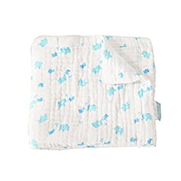 Baby Cotton Gauze sheets (105×120cm(41×47in), Blue small Elephant)