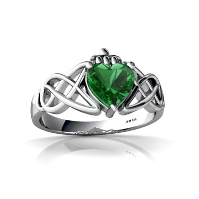 14K White Gold Heart Created Emerald Celtic Claddagh Knot Ring  Size 5