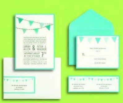 gartner labels templates - gartner studios inc brides blue pennants invites set
