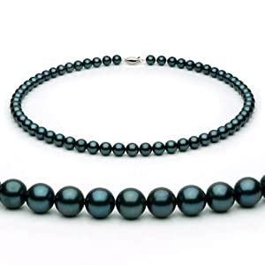 14k White Gold 6.0-6.5mm Black Akoya Saltwater Cultured Pearl Necklace AA+ Quality, 18 Inch Princess, Color Enhanced
