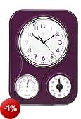 Premiere Housewares 2200547 Orologio da Parete con Indicatore Temperatura e Timer, Viola