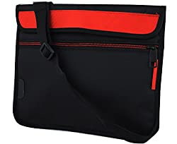 Saco Stylish Soft Durable Pouch for Acer Aspire Switch 10 SW5-012-152L Laptop (NT.L4SSI.002) with shoulder strap - Red
