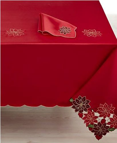 Homewear holiday table linens red poinsettia wreath for 120 table runner christmas