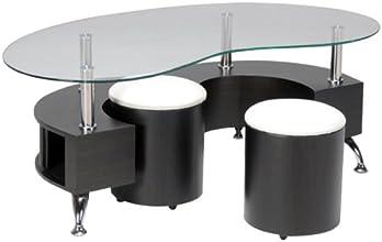 Weber Industries 025311 Omega Table Base + Poufs Décor Wenge MDF + Panneau de Particules + Verre Trempe 130 x 70 x 45 cm