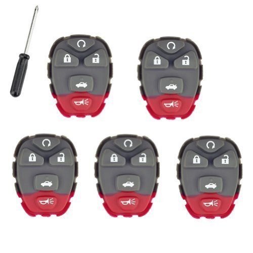 Pack Of 5 Keyless Remote 5B Key Pad Rubber For Buick LaCrosse Chevrolet Malibu Pontiac G6 (Key Remote For Pontiac G6 compare prices)