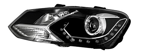 Auptech Volkswagen Polo 2011 Headlight Assembly Angel Eyes Halogen Hid Led Projector Headlight Lamp (One Pair)