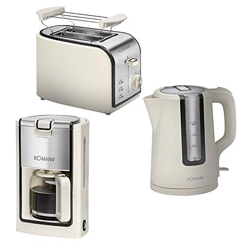 Edelstahl Frührstücks Küchen Set Kaffeemaschine Wasserkocher Toaster creme