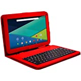 "Visual Land Prestige ELITE A10QL - 10.1"" QuadCore Android Lollipop 5.0 Tablet With Keyboard Case, 16GB, 1024x600 HD Touch Screen (Red)"