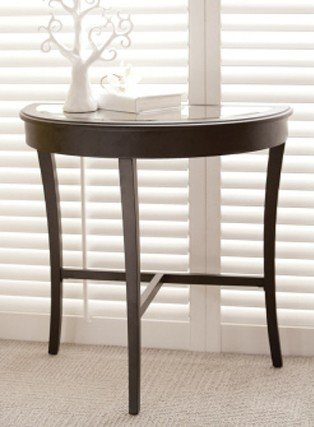 Cheap Half Moon Console Hall Table with Inlaid Beveled Top in Matte Black Finish (AZ00-38927×21291)