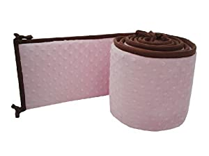 American Baby Company Minky Dot Cradle Bumper with Chocolate Trim, Pink