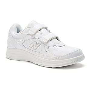 New Balance Men's MW577 Leather Hook/Loop Walking Shoe,White,10 4E US