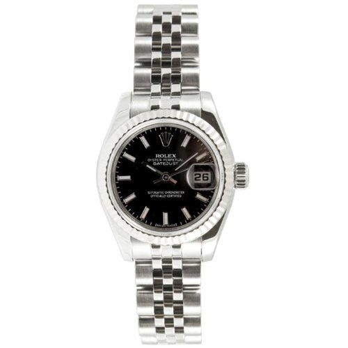 Rolex Ladys New Style Heavy Band Stainless Steel Datejust Model 179174 Jubilee Band 18K White Gold Fluted Bezel Black Stick Dial