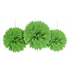 PARTY PROPZ Light Green Fluffy Pom Pom Hanging for Decoration 3PCS 14