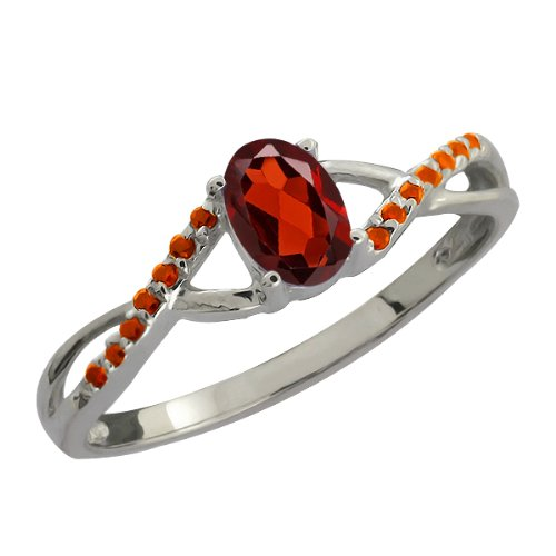 0.63 Ct Oval Red Garnet and Cognac Red Diamond 14k White Gold Ring