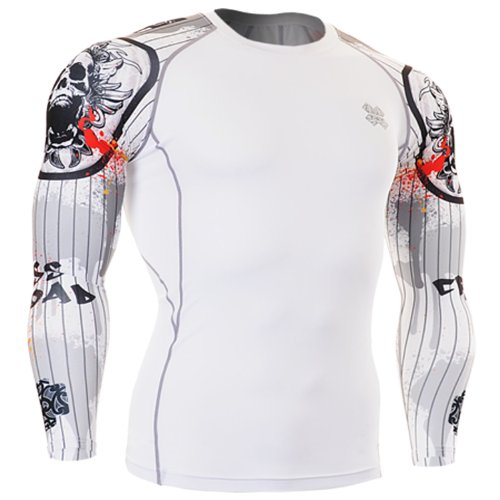 Fixgear Sports Mens Womens Compression Gear Gym Exercise White Long Sleeve