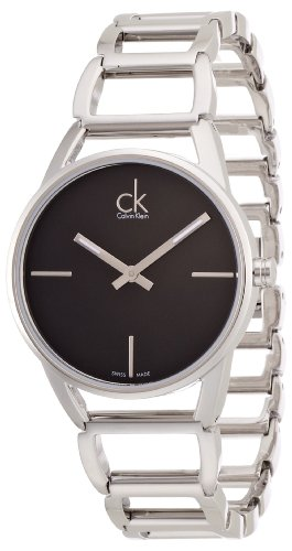 Calvin Klein ck stately K3G23121 - Reloj analógico de cuarzo para mujer, correa de acero inoxidable color plateado
