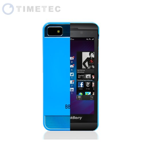 Timetec Blackberry Z10 Bb10 Faux Brushed Aluminum Metal Snap-On Metal Back Cosmo Brushed Metal Top & Bottom Glossy Plastic Shell Case Cover (Blue)